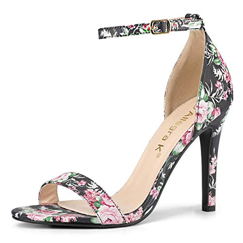 - Allegra K Women's Floral Printed Ankle Strap Stiletto Heel Black Sandals - 10 M US