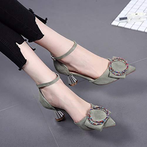 De Zapatos Estilete Zapatos de Green De alto Cuadrada Yukun Chica De Pequeños Negro Otoño tacón Alto Salvaje 38 Hebilla Puntiagudos Otoño Tacón Zapatos zapatos Tqa7P