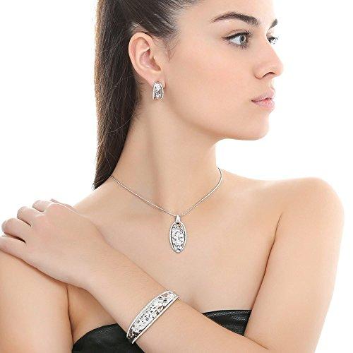 SINCERA Ensemble collier avec pendentif bijoux femme bracelet et boucles d'oreilles argent Aqua Marine/Blue/Violet avec cristaux original de SWAROVSKI