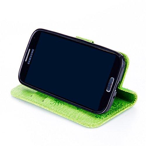Funda Galaxy S4, Funda de brillo Galaxy S4, Lifetrut Sólido Shiny Sparkle Libro de Estilo de Cuero con Ranura para Tarjetas de Cierre Magnético Soporte Funda de Teléfono de la Función con Correa de Mu E203-Verde