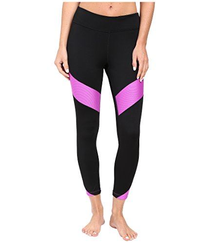 FILA Women's Banded 3/4 Tights, Black/Purple, L