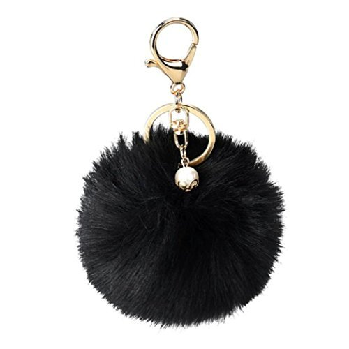 (Bestpriceam Artificial Fox Fur Ball with Artificial Fox Head Inlay Pearl Rhinestone Key Chain for Womens Bag or Cellphone or Car Pendant (Style_1, Black))