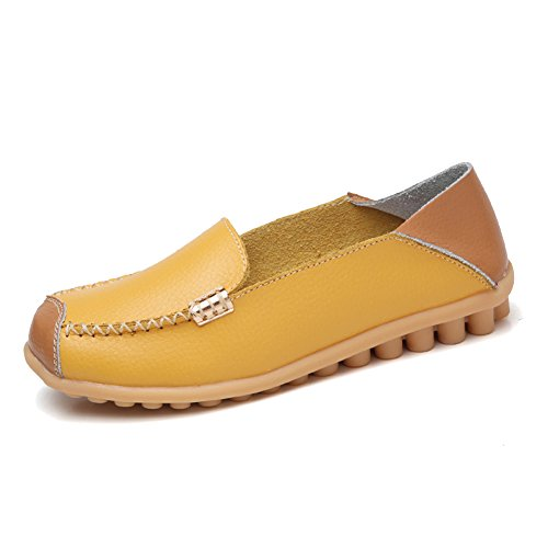 NineCiFun Womens Soft Leather Slip On Loafers Casual Flat Moccasins(9.5 B(M) US,Yellow)