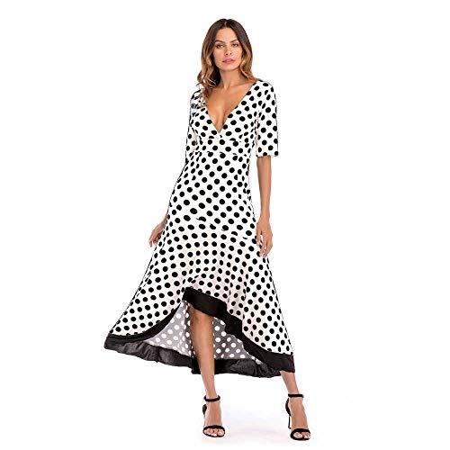 2019 Summer Vintage Polka Dot Dress Women Asymmetric Maxi Dress Deep V Neck Ruffles Slim Long Dress Clubwear Female B S