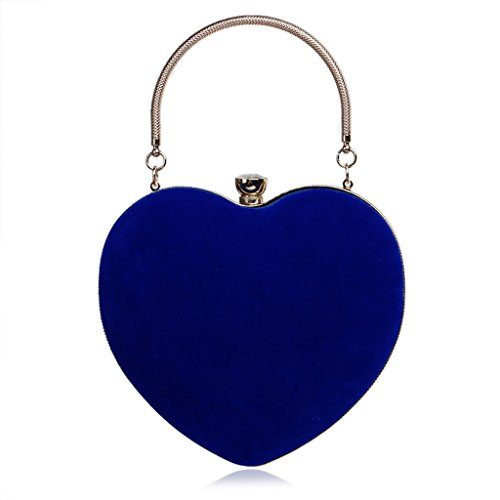 Purse Velvet Shoresu Pink Bag Women Wedding Party Bag Heart Blue Handbag Evening Clutch Prom Chain pxx8TqIZ