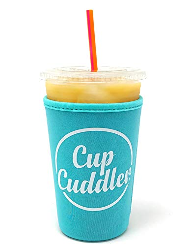 (CupCuddler Iced Coffee Insulated Sleeve I Reusable Neoprene Beverage Insulator Keeps Ice Drinks Cold I Java Coaster I for Dunkin Donuts Starbucks McDonalds and More (Blue, Medium))