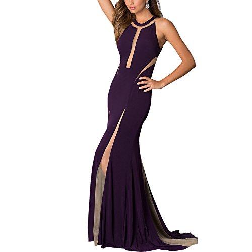 CoCo Fashion - Vestido de noche largo sin mangas para mujer morado
