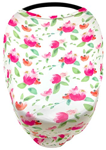 Luvit 5-in-1 Baby Car Seat Canopy, Stroller Canopy, Shopping Cart Cover, High Chair Cover and Nursing Cover All-in-One Universal Fit in Pink Floral (Cover Seat Floral Toddler Car)
