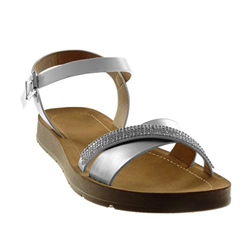 Angkorly Women's Fashion Shoes Sandals - Ankle Strap - Crossed Thongs - Rhinestone - Shiny Wedge 2 cm Silver lc9Dj7Myh