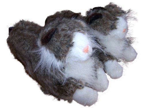 Feet Gray White Premium Mens 50 Full Foot Cat Slippers and and Happy Animal Womens Styles Sxd7Sw