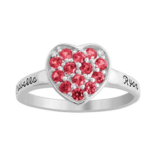 ArtCarved Lovely Bouquet Simulated Ruby Personalized Women's Ring, Sterling Silver, Size 8