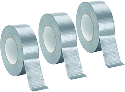 - Duct Tape - 975 Supply - Professional Grade - Silver Color - (1.89 Inch x 60 Yards) - 48mm x 55m - Tear by Hand Design - No Residue - All Weather - USA Seller (3 Rolls)