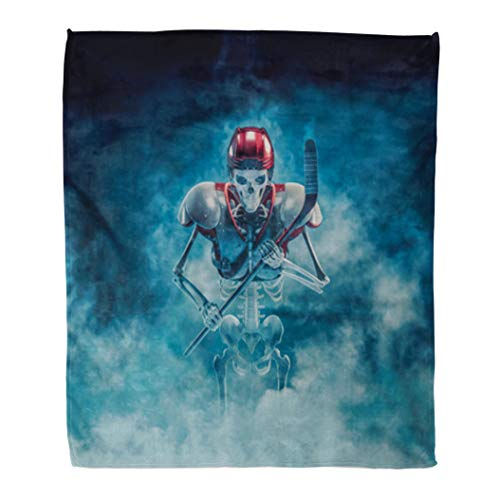 Emvency Decorative Throw Blanket 60 x 80 Inches The Phantom Hockey Player 3D of Scary Skeleton Ice Stick Helmet and Shoulder Warm Flannel Soft Blanket for Couch Sofa -