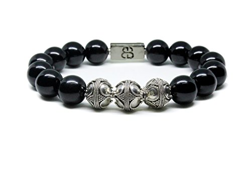Men's Black Obsidian and Sterling Silver Beads Bracelet, Bracelet for Men, Bead Bracelets men by Kartini Studio