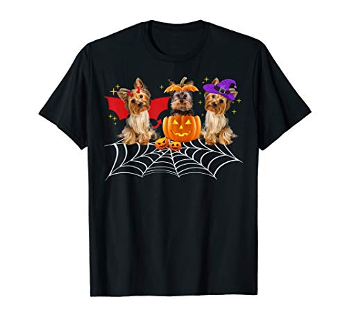 Three Yorkshire Dogs Halloween T Shirt Yorkie Halloween Gift T-Shirt