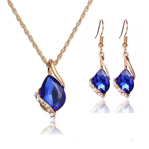 Ezing Women Crystal Pendant Gold Plated Chain Necklace Earring Jewelry Set (blue)