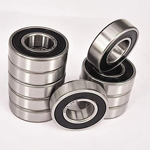 High Bearings Precision - ZH Precision 10 Pack 6002-2RS Precision Bearings 15x32x9mm, Rotate Quiet High Speed and Durable, Double Seal and Pre-Lubricated, Deep Groove Ball Bearings