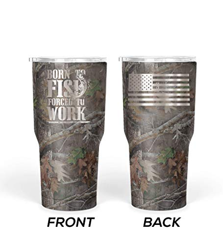 We The People - Born To Fish Forced To Work Coffee Mug - Stainless Steel Travel Mug with American Flag - 30 oz Insulated Tumbler - American Flag Tumbler - Best Fishing Gifts (Camouflage)