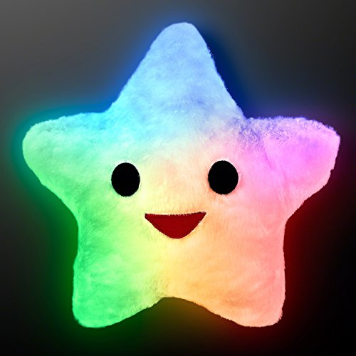 Happy Star Light Up Pillows With Auto-Off Slow Color Changing LEDs (Pillows That Light Up)