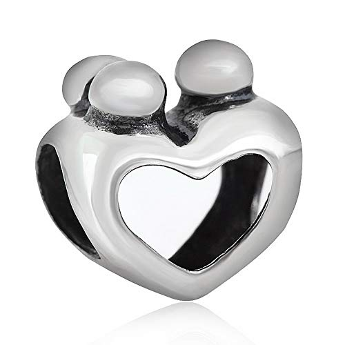 ZIYOU Mother Child Family Sterling Silver Hot Heart Jewelry Charm Fit Pandora&Chamilia,Thanksgiving ()