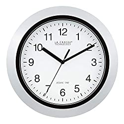 La Crosse Technology Atomic Analog Wall Clock, 10, Silver