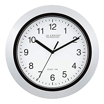 "La Crosse Technology Atomic Analog Wall Clock, 10"", Silver - Atomic Time with Manual Setting Automatically Sets to Exact Time Accurate to the Second - wall-clocks, living-room-decor, living-room - 41yQTrgwN5L. SS400  -"