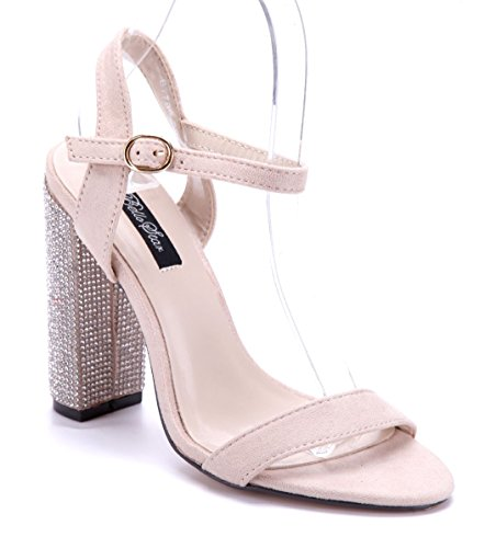 Schuhtempel24 Damen Schuhe Sandaletten Sandalen Blockabsatz Ziersteine 12 cm High Heels Beige