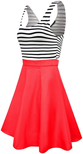Back Tank Dress (Womens Open Back Sleeveless Casual Swing Tank Dresses Orange,XL)