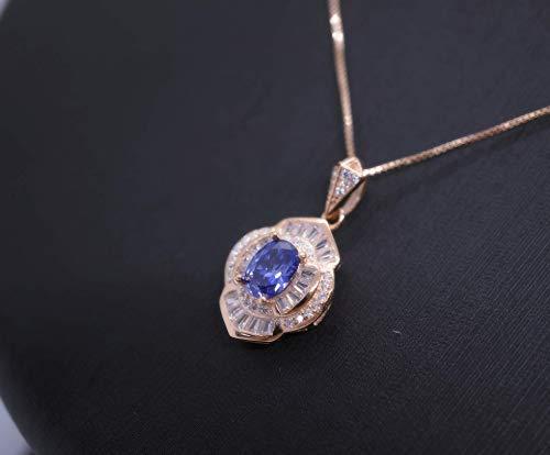 Tanzanite Crystal Pendant - Rose Gold Coated Sterling Silver Tanzanite Necklace Flower Of Life White Sapphire Handmade Unique Design Luxury Tanzanite