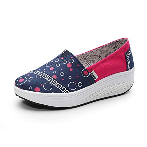 Slimming Shoes Swing Wedges Platform Canvas Trainers Shoes Height Increase Blue