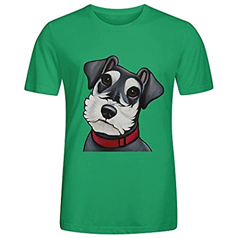 Schnauzer Pet Portrait Tee Shirts For Men O Neck Green (Of Mice And Men Robert Blake)