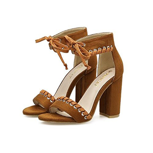 Angel love beauty Damen Block Chunky Heels Ankle Lace up Peep Toe Hochhackige Sandalen (Color : Brown Size :...