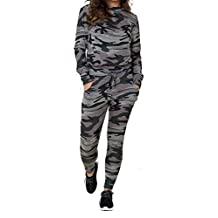 New Ladies Women Army Camouflage Print 2 Piece Tracksuit Lounge Suit Plus Size