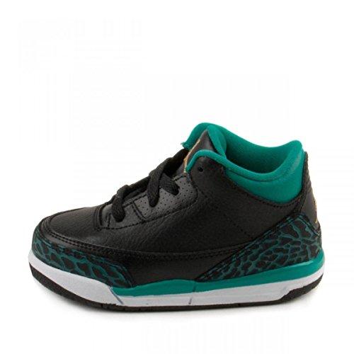 Nike Baby Girls Air Jordan 3 Retro GG Black/Metallic Gold-Teal Leather (6 M US Toddler)
