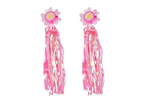 Sunflower Bike Scooter Handlebar Streamers– Sparkle Tassel Pink Ribbons for Childrens Kids Bicycle Trike Grips Baby Carrier Accessories