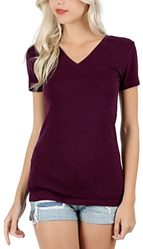 ToBeInStyle Women's Short Sleeve V-Neck Basic T-Shirt - Dark Plum - M (Plum Medium)