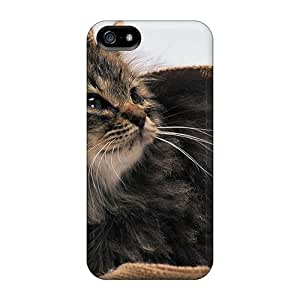 Hot Tpu Cover Case For Iphone/ 5/5s Case Cover Skin - Brown Cat