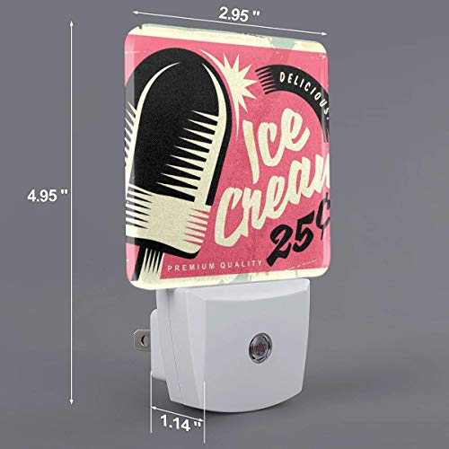 (Xiaoyedenggg Retro Fifties Tin Sign with Delicious Ice Cream Plug-in Night Light, Warm White LED Nightlight,Dusk-to-Dawn Sensor,Bedroom,Bathroom,Kitchen,Hallway,Stairs,Energy Efficient,Compact)