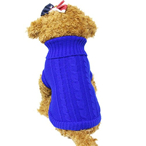 2017 Hot Pet Sweater! AMA(TM) Pet Puppy Small Dog Clothes Winter Knitted Wool Warm Sweater Knitwear Doggy High Collar Coat Apparel Costume (4#, Blue)