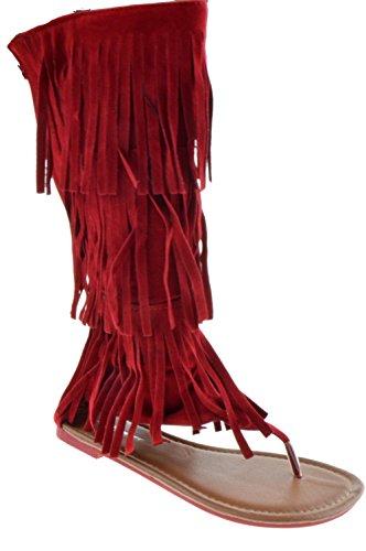 Perizoma Anika 66 Sandalo Gladiatore Piatto Con Zeppa Donna Rosso