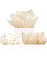 """UNIQOOO 60 Sheets Premium Metallic Gold Tissue Gift Wrap Paper Bulk - Stripe, Polka Dot, Wave Gold - 20"""" X 26"""" Each, Recyclable Gift Wrapping Accessory, Perfect for Party Decor, Gift Bags, DIY Crafts"""