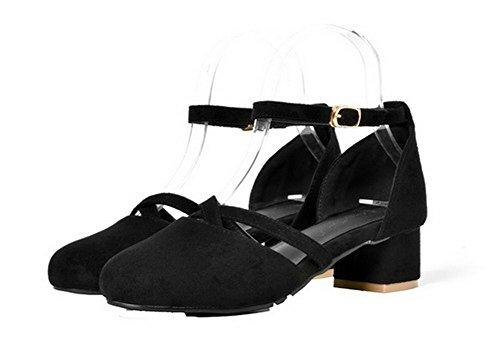 Unie Couleur Noir Fermeture Femme Sandales AalarDom d'orteil TSFLG005118 Correct Boucle Talon à 8xPZq0Pw