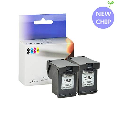 KCYMTONER High Yield Remanufactured 63XL 63 XL 63BXL Black Ink Cartridge Replacement for HP OfficeJet 5255 5258 4650 Envy 4520 4516 Deskjet 2130 Printer, Show Ink Level with The Latest chip - 2 Pack