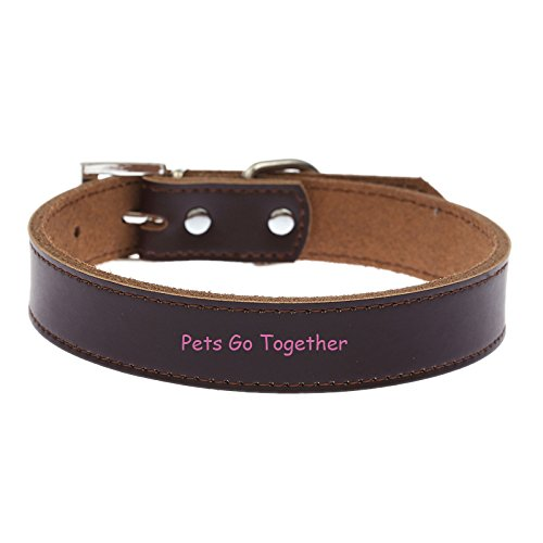 Hubry(TM) Genuine Leather Dog Collar Simple Design Puppy Harness Adjustable Small Dog Neck Strap Collar
