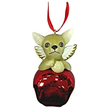 StealStreet SS-D-BL006-A Cute Christmas Holiday Chihuahua Dog Ornament Bell Figurine, Red