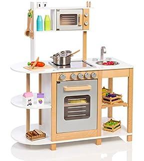 Elegant Unbekannt Kinderküche Aus Holz (Weiß Silber) Spielküche Für Kinder