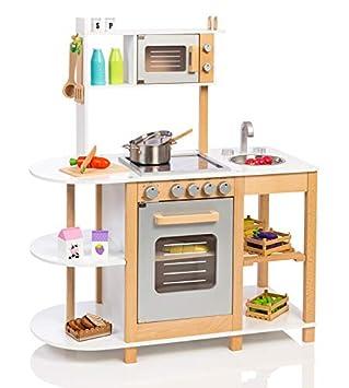 Unbekannt Kinderküche Aus Holz (Weiß Silber) Spielküche Für Kinder