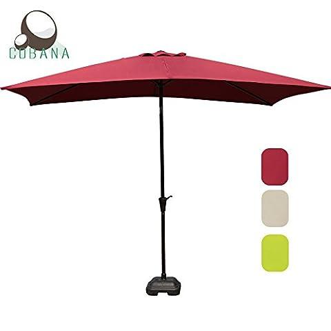 Rectangular Patio Umbrella, Outdoor Table Market Umbrella with Push Button Tilt/Crank, 6 Ribs, Beige by (Rectangular Table Base)