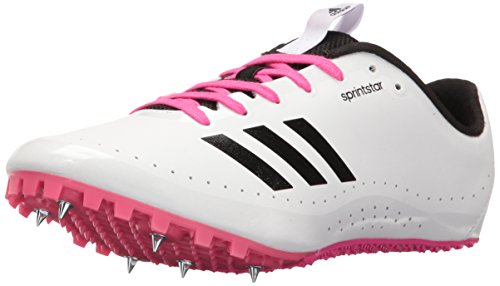 adidas Performance Women's Sprintstar w Track Shoe, White/Black/Shock Pink, 7.5 M US
