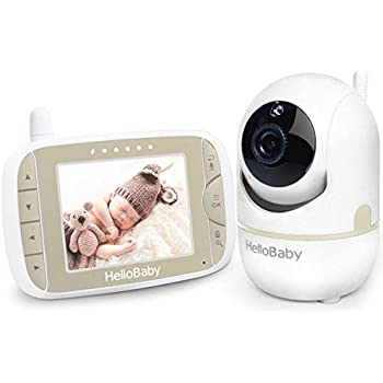 HelloBaby Video Baby Monitor with Remote Camera Pan-Tilt-Zoom, 3.2'' Color LCD Screen, Infrared Night Vision, Temperature Monitoring, Lullaby, Two Way Audio, Includes Wall Mount Kit